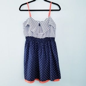 JOLT Polka Dot Stripe Dress Blue White LARGE